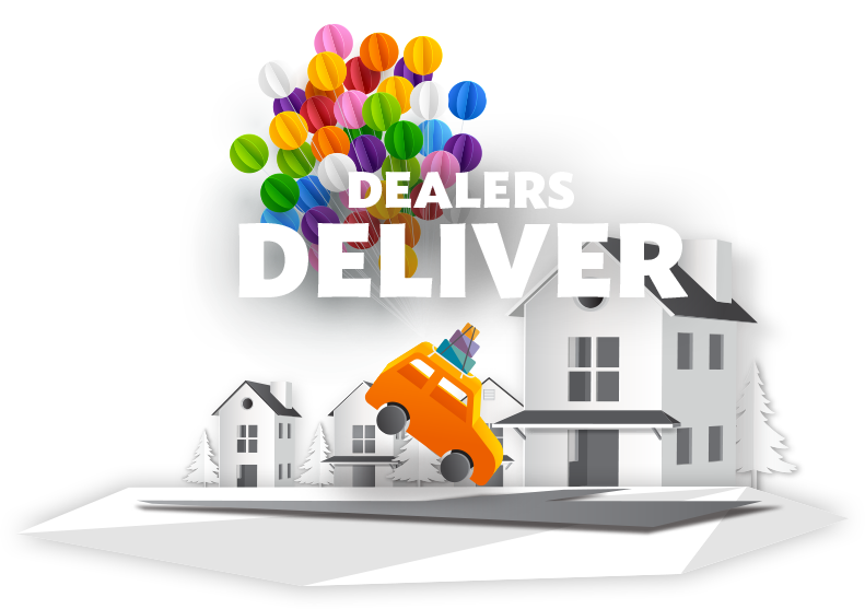 "Illustration of a car being dropped into a home driveway by a cluster         of balloons with a banner         that says ""Dealers Deliver""."