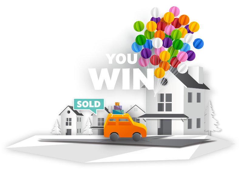 "Illustration of a new car sitting in a driveway detached from a         cluster of balloons with a ""Sold"" sign above it and a banner that reads         ""You Win""."