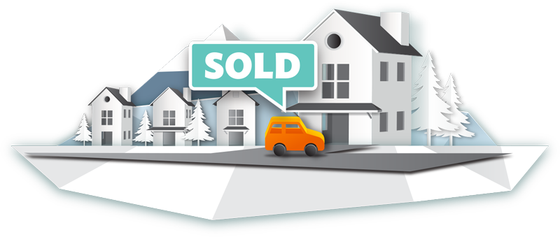 "Illustration of a car in a driveway of someone's house with a ""sold"" sign above it."